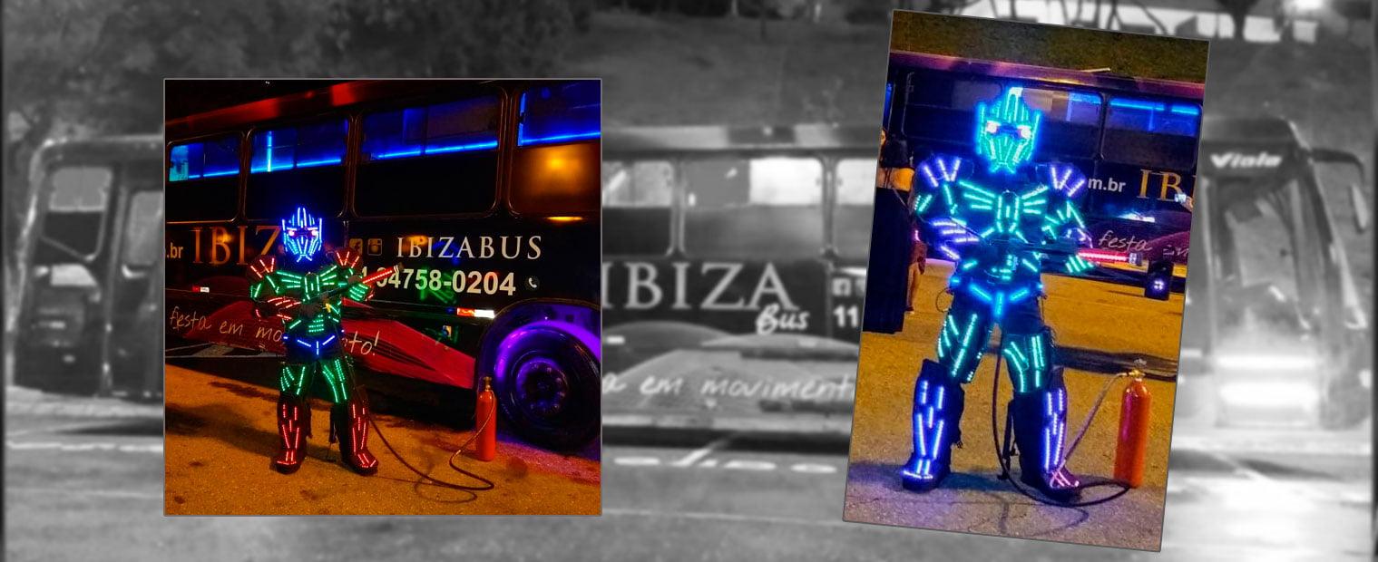 Robô de Led com luzes de led coloridas